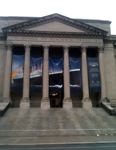 titanic exhibit, philly, philadelphia, exit, scaffold, scaffolding, rental,